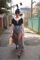 red vintage skirt - beige vintage bag - beige Forever 21 glasses