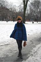 vintage cape - vintage hat - Forever 21 tights - vintage Coach bag - vintage boo