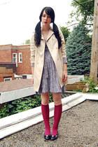 hot pink calvin klein socks - beige vintage jacket - black coach bag