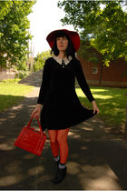red vintage hat - black vintage dress - red vintage bag - red H&M tights - H&M s