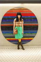 vintage boots - mustard la maison simmons tights - vintage skirt - DKNY belt - n
