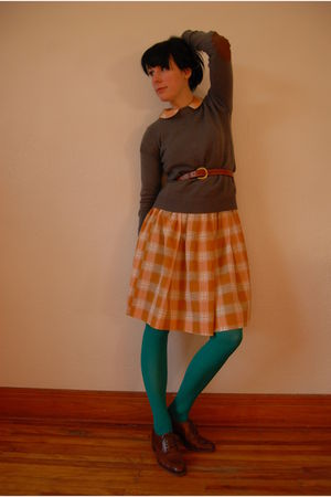 gray Zara sweater - orange vintage dress - H&M tights - brown vintage shoes - br