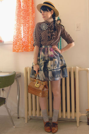 vintage hat - vintage blouse - vintage purse - Pin Pals accessories - Urban Outf