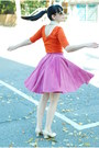 Carrot-orange-forever-21-dress-nude-vintage-heels-hot-pink-vintage-skirt