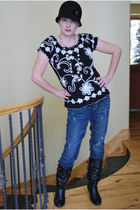 Buckle jeans - Ross hat - Ross boots - Target accessories - Lauren Michelle top