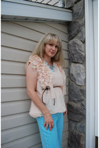 light blue tassels beads romwe accessories - peach ruffles chiffon romwe top