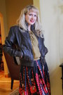 Dark-brown-nostalgica-jacket-olive-green-down-east-blouse-ruby-red-target-sk