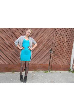 black H&M boots - turquoise blue selfmade dress - silver lindex cardigan