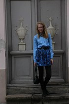 blue vintage blouse - blue floral vintage skirt