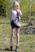 hot pink GINA TRICOT blouse - white selfmade vest - black unknown pants