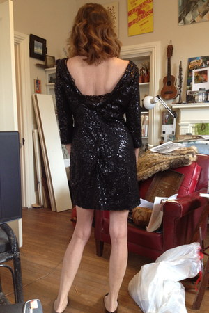 black black sequin liz claiborne dress