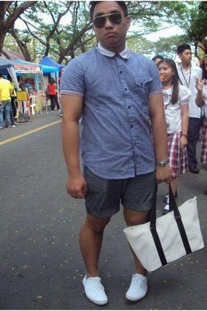 blue shirt - gray shorts - white shoes - white purse - black sunglasses - access