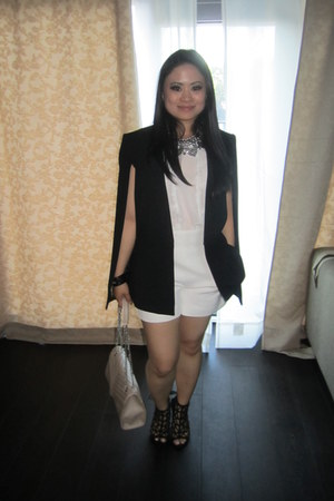 caged heels Zara shoes - cape blazer BCBG blazer - cream clutch Forever 21 bag