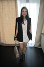 Caged-heels-zara-shoes-cape-blazer-bcbg-blazer-cream-clutch-forever-21-bag