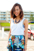chiffon Zara skirt - men Factorie top - DIY necklace