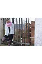 random brand scarf - bronx boots - Monki blazer - Mango shorts