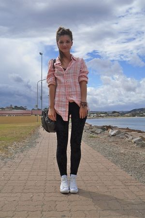 pink Sportsgirl shirt - white Converse shoes - black cotton on leggings