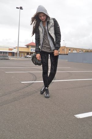 black cotton on leggings - silver Converse shoes - gray Reebok jacket - black Fo