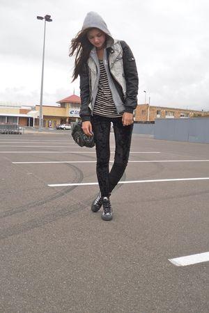 black cotton on leggings - silver Converse shoes - gray Reebok jacket - black Fo