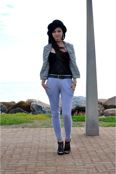 black Anne Michelle shoes - gray supre pants - black bardot
