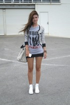 silver Beatles t-shirt - white Converse shoes - black supre skirt