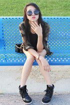 black tory burch bag - light blue Zara shorts - black Jeffrey Campbell sneakers