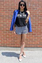 white Stradivarius heels - blue Zara blazer - black La Notte t-shirt