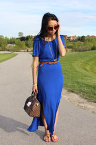 gold Haute1 necklace - blue Attitude dress - brown Louis Vuitton bag