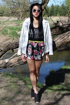 white leather jacket jacket - hot pink floral shorts Forever 21 shorts