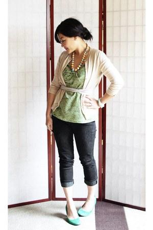 dark gray leggings - beige J Crew cardigan - chartreuse Loft blouse - turquoise
