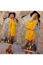 yellow Zara dress - black Ebay hat - black Louis Vuitton bag