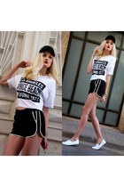 black Mango hat - black Mango shorts - white Mango t-shirt - white H&M sneakers