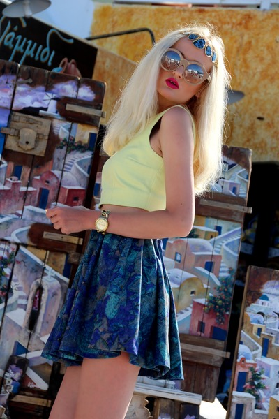 blue H&M skirt - blue Ebay necklace - gold Michael Kors watch