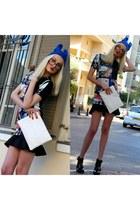 black asos boots - blue Zara dress - blue Ebay hat - white Zara bag