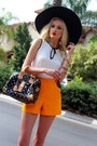 White-zara-shirt-black-louis-vuitton-bag-carrot-orange-zara-shorts