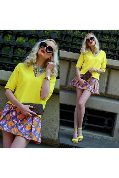 yellow Zara sweater - orange Zara skirt - dark brown Louis Vuitton wallet