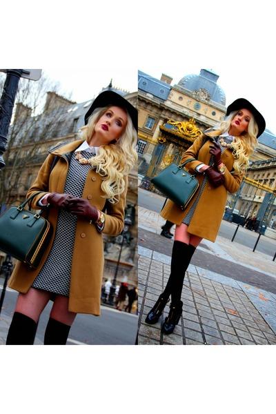 black Zara dress - burnt orange Zara coat - teal Prada bag - asos heels