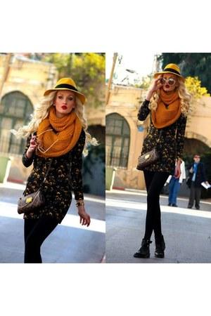 black Zara boots - black Zara dress - black Accessorize tights