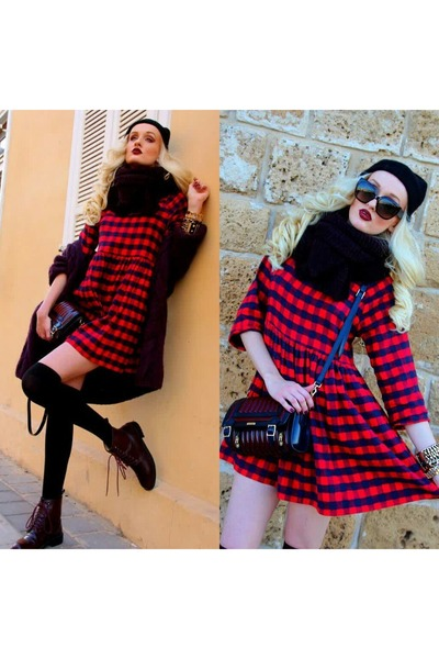 crimson Zara boots - brick red asos dress - black Zara hat - crimson Zara scarf