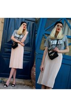 heather gray Zara shirt - black Ebay hat - black Zara bag - peach Miu Miu pumps