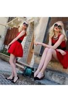 red Choies dress - black Chanel bag - black Zara flats - ivory Zara necklace