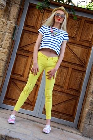 floral H&M sneakers - Ebay hat - Zara shirt - bright Zara pants