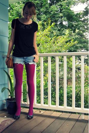 H&M shirt - shorts - Delias tights - coach purse - shoes - earrings