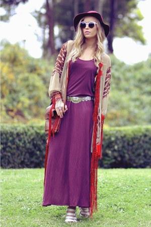 Somedays Lovin dress - fringed kimono vintage jacket - ann demeulemeester heels
