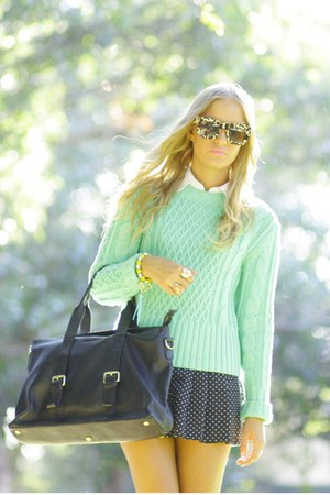 chartreuse lia acne sweater - black antoine and stanley bag