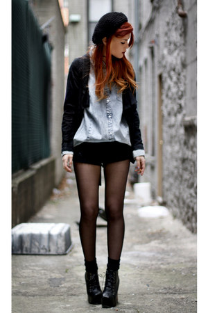 romwe shirt - VJ-style shoes - Chicwish shorts