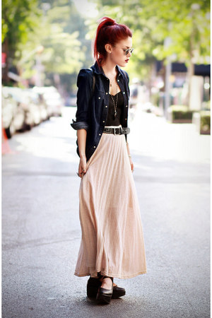 black Miss KL top - navy Levis shirt - light pink Miracle Eye skirt
