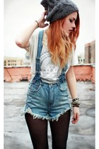 charcoal gray River Island hat - blue UNIF shorts - cream Number A t-shirt