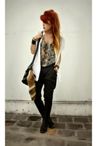 black wantedshoes boots - white vintage blouse - olive green fashionpash top - b