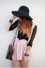 Black-forever-21-hat-dark-brown-vintage-bag-light-pink-vintage-skirt